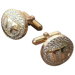 Custom Initial Diamond Cufflinks, 1.40 Carat TW Approximate 18 Karat, Ben Dannie