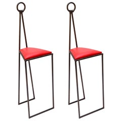Custom Iron Bar Stools with Red Leather Seats by Adesso Imports