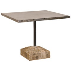 Custom Iron Top Table on 19th Century Spanish Stone Plinth Base