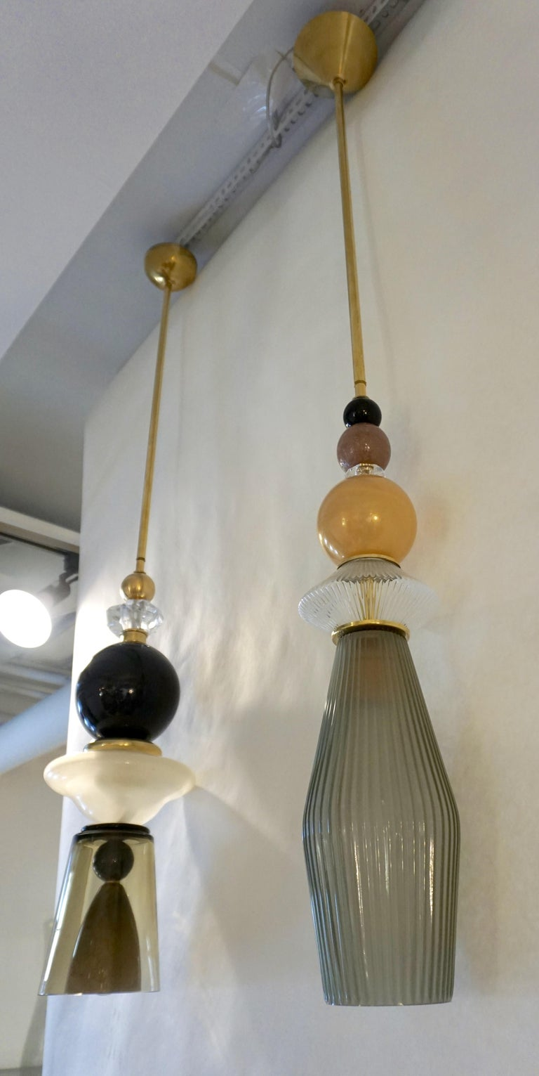 Custom Italian Crystal Gold and Gray Green Murano Glass Brass Pendant Light For Sale 3