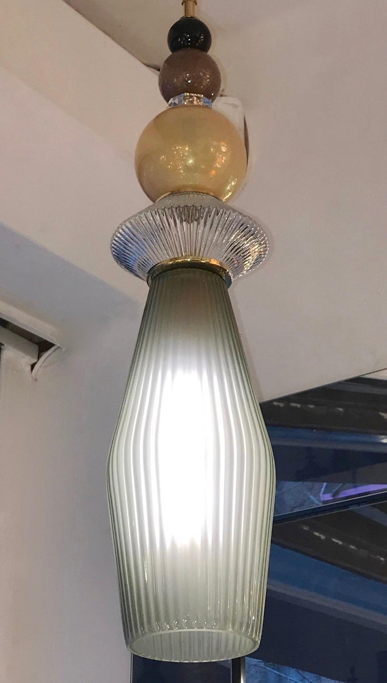 Custom Italian Crystal Gold and Gray Green Murano Glass Brass Pendant Light For Sale 5