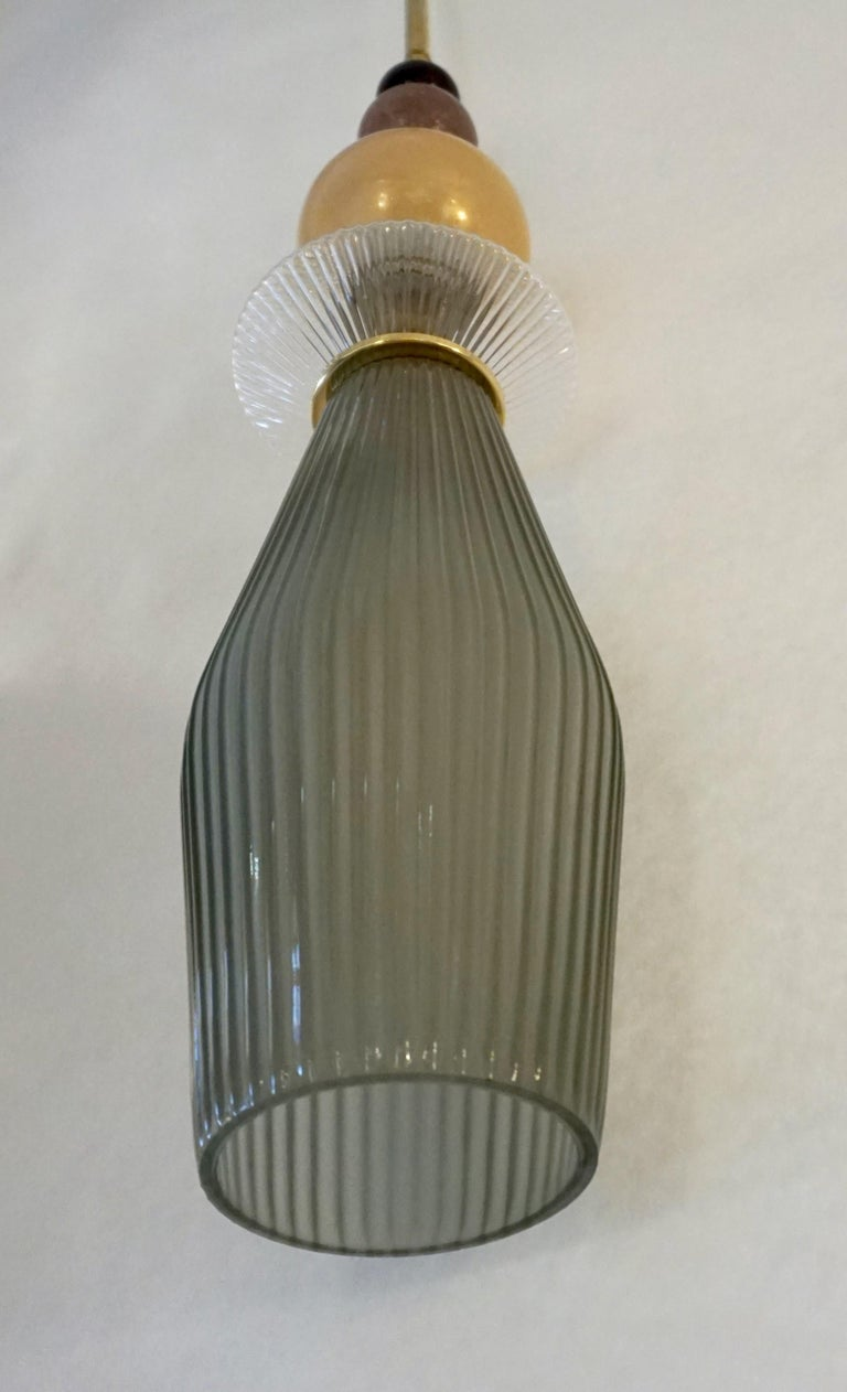 Custom Italian Crystal Gold and Gray Green Murano Glass Brass Pendant Light For Sale 7