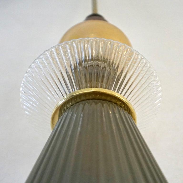 Custom Italian Crystal Gold and Gray Green Murano Glass Brass Pendant Light For Sale 8