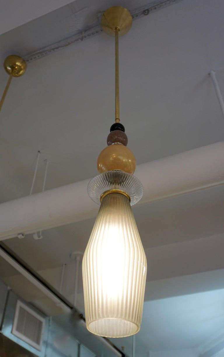 Custom Italian Crystal Gold and Gray Green Murano Glass Brass Pendant Light For Sale 9