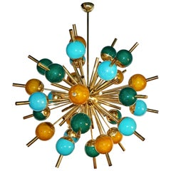 Custom Italian Green Turquoise Gold Murano Glass Brass Sputnik Globe Chandelier