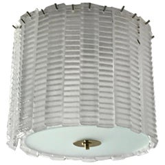 Custom Italian Textured Crystal Frosted Murano Glass Brass Round Flush Mount