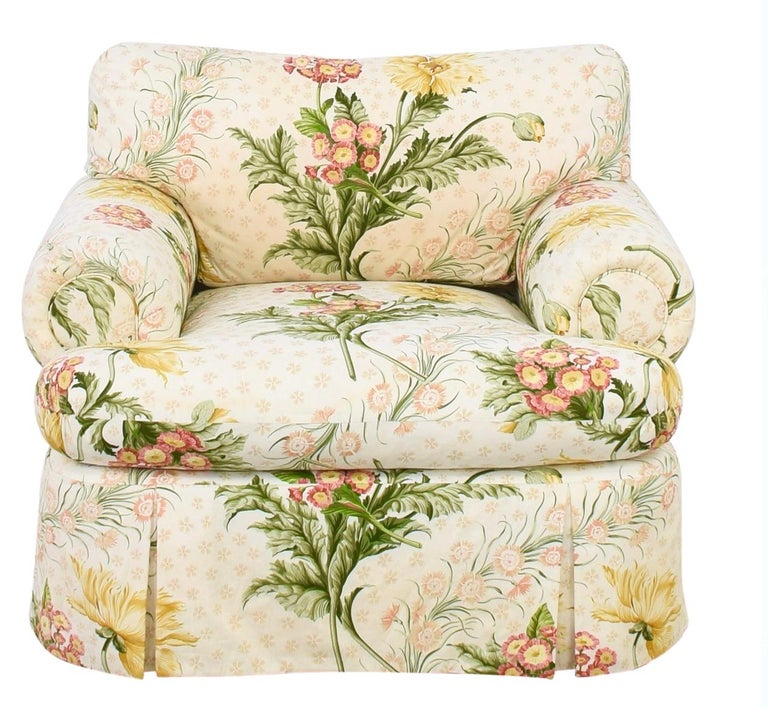 Custom Judith Norman Miami modern floral skirted armchair lounge and ottoman. Gorgeous custom piece. MSRP of approximately 9000 USD.