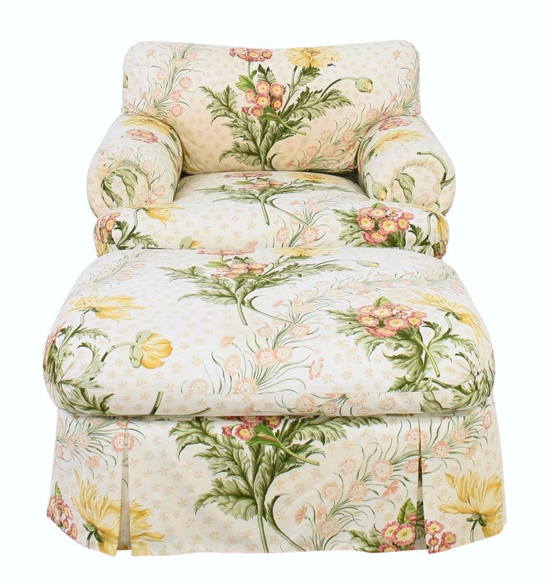 Custom Judith Norman Miami Modern Floral Skirted Armchair Lounge and Ottoman In Good Condition For Sale In Brooklyn, NY