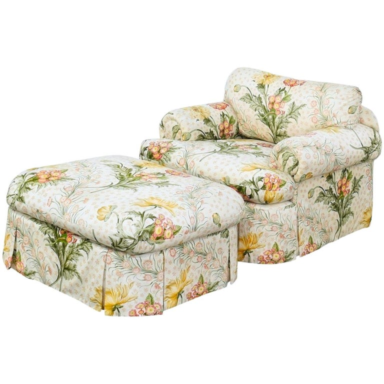 Custom Judith Norman Miami Modern Floral Skirted Armchair Lounge and Ottoman For Sale