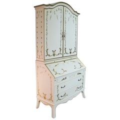 Custom Julia Gray, Ltd. Cream & Gilt Slant Front Secretary Bookcase