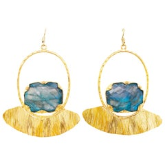 Custom Labradorite Gemstone Gold Earring Dangles with Gold Organic Design