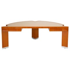 "Custom Lacewood ""Mezzaluna"" Office Desk by Pace Collection"