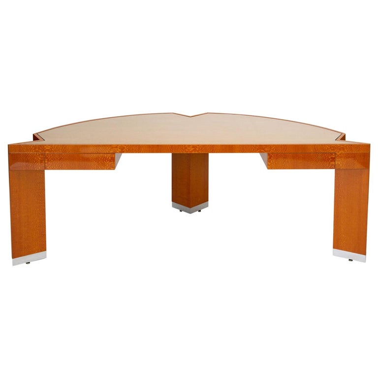 """Custom Lacewood """"Mezzaluna"""" Office Desk by Pace Collection For Sale"""