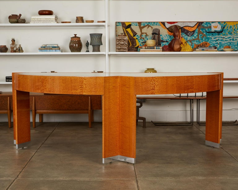 """Polished Custom Lacewood """"Mezzaluna"""" Office Desk by Pace Collection For Sale"""