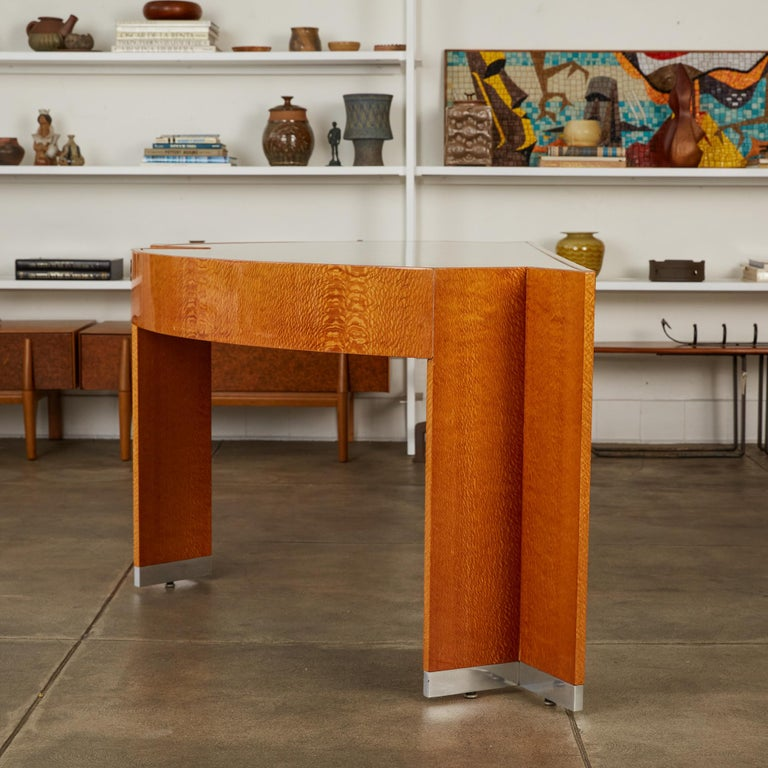 """Custom Lacewood """"Mezzaluna"""" Office Desk by Pace Collection For Sale 2"""
