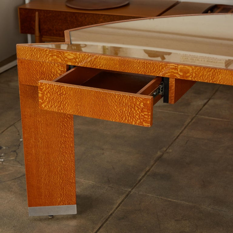 """Custom Lacewood """"Mezzaluna"""" Office Desk by Pace Collection For Sale 3"""