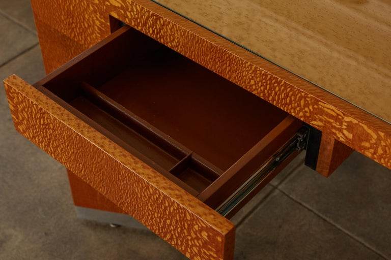 """Custom Lacewood """"Mezzaluna"""" Office Desk by Pace Collection For Sale 5"""