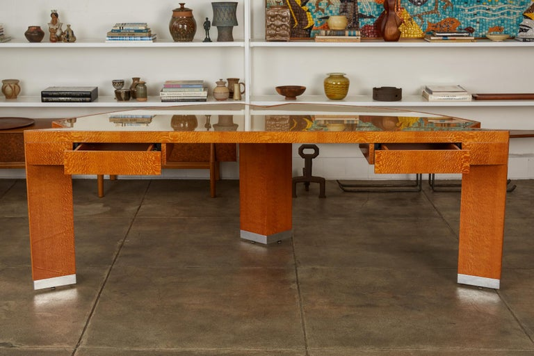 """Modern Custom Lacewood """"Mezzaluna"""" Office Desk by Pace Collection For Sale"""