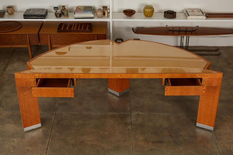 """American Custom Lacewood """"Mezzaluna"""" Office Desk by Pace Collection For Sale"""
