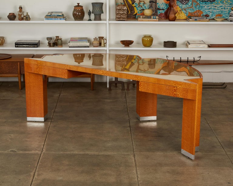 """Custom Lacewood """"Mezzaluna"""" Office Desk by Pace Collection In Excellent Condition For Sale In Los Angeles, CA"""