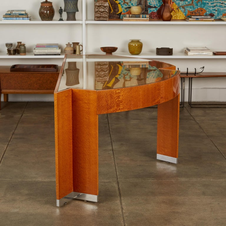 """Stainless Steel Custom Lacewood """"Mezzaluna"""" Office Desk by Pace Collection For Sale"""