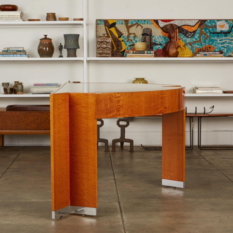 """Custom Lacewood """"Mezzaluna"""" Office Desk by Pace Collection For Sale 1"""