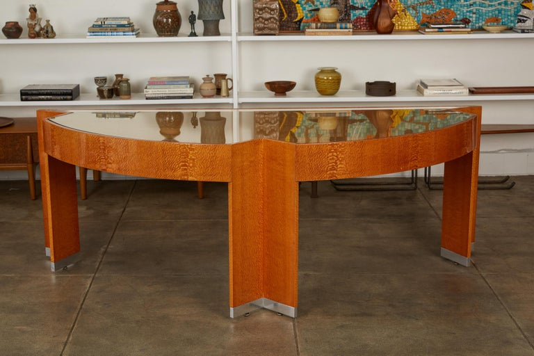 """20th Century Custom Lacewood """"Mezzaluna"""" Office Desk by Pace Collection For Sale"""