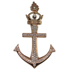 "Custom ""Lahaina Anchor"" Pendant in 20kt Gold with Pavé Diamonds 1.25ct- Medium"