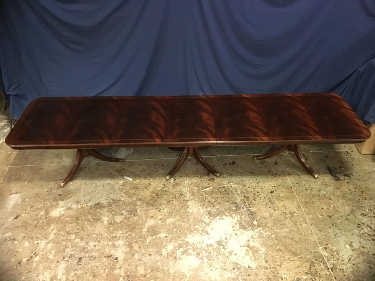 American Custom Large Mahogany Georgian Style Dining Table by Leighton Hall For Sale
