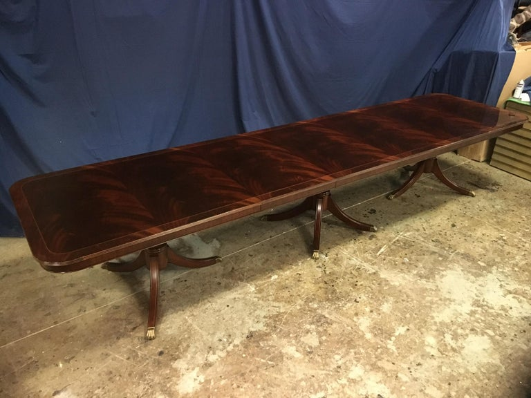 Custom Large Mahogany Georgian Style Dining Table by Leighton Hall In New Condition For Sale In Suwanee, GA