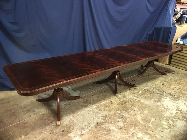Contemporary Custom Large Mahogany Georgian Style Dining Table by Leighton Hall For Sale