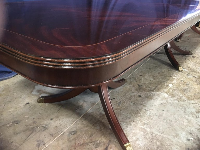 Custom Large Mahogany Georgian Style Dining Table by Leighton Hall For Sale 1