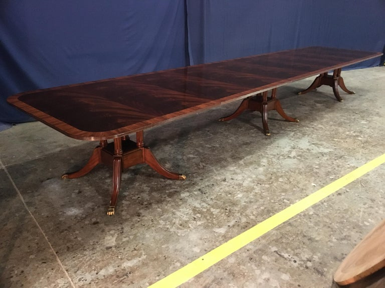 Custom Large Mahogany Banquet Dining Table by Leighton Hall For Sale 4