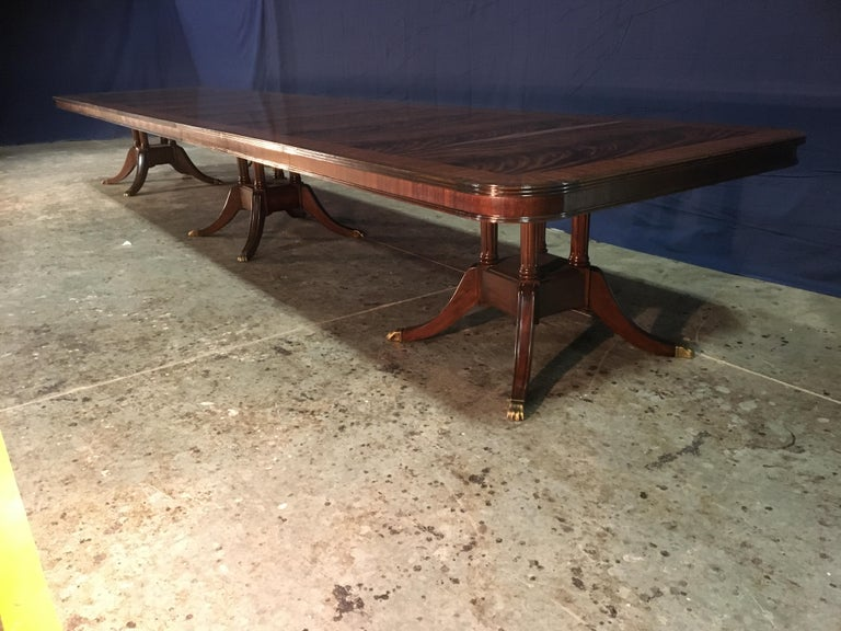 Custom 20 ft. Large Mahogany Banquet Dining Table by Leighton Hall For Sale 5