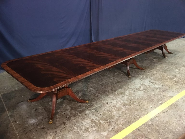 Custom Large Mahogany Banquet Dining Table by Leighton Hall For Sale 5