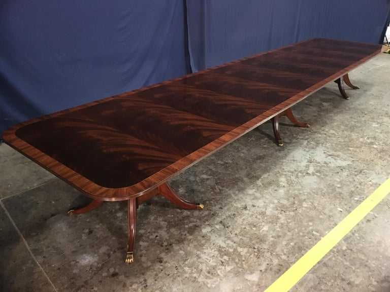 Custom Large Mahogany Banquet Dining Table by Leighton Hall For Sale 6