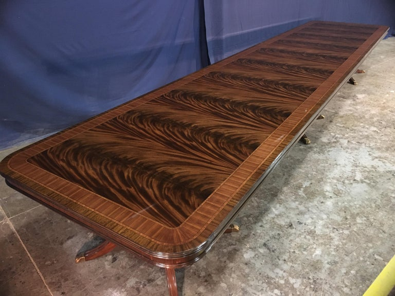 Georgian Custom 20 ft. Large Mahogany Banquet Dining Table by Leighton Hall For Sale