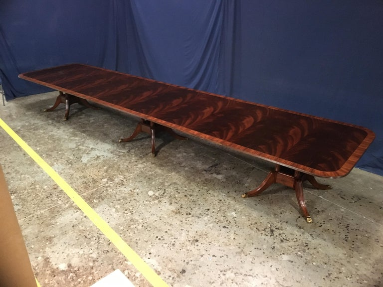 Georgian Custom Large Mahogany Banquet Dining Table by Leighton Hall For Sale