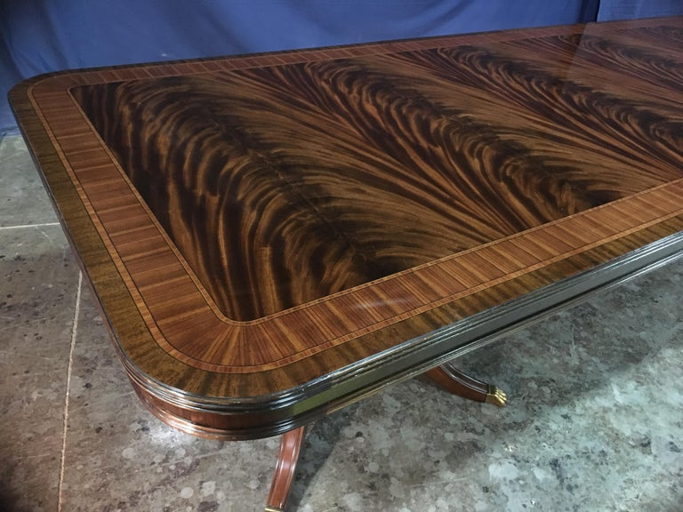 American Custom 20 ft. Large Mahogany Banquet Dining Table by Leighton Hall For Sale