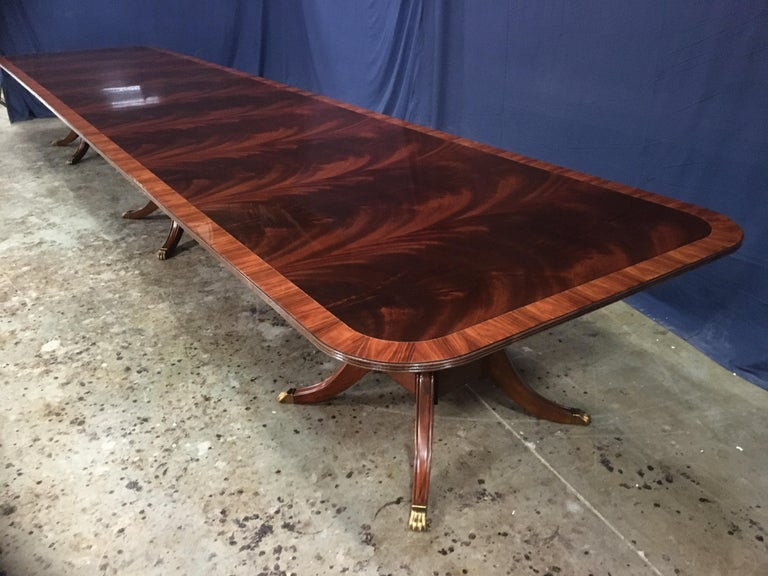 American Custom Large Mahogany Banquet Dining Table by Leighton Hall For Sale