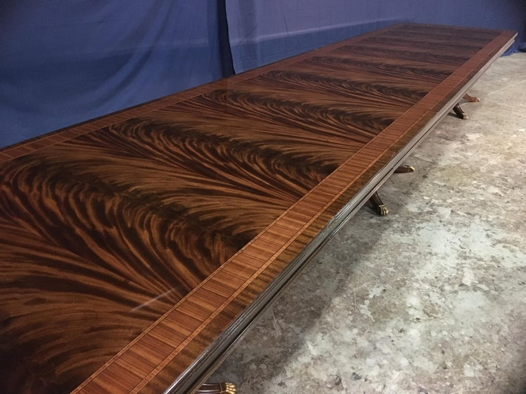 Custom 20 ft. Large Mahogany Banquet Dining Table by Leighton Hall In New Condition For Sale In Suwanee, GA