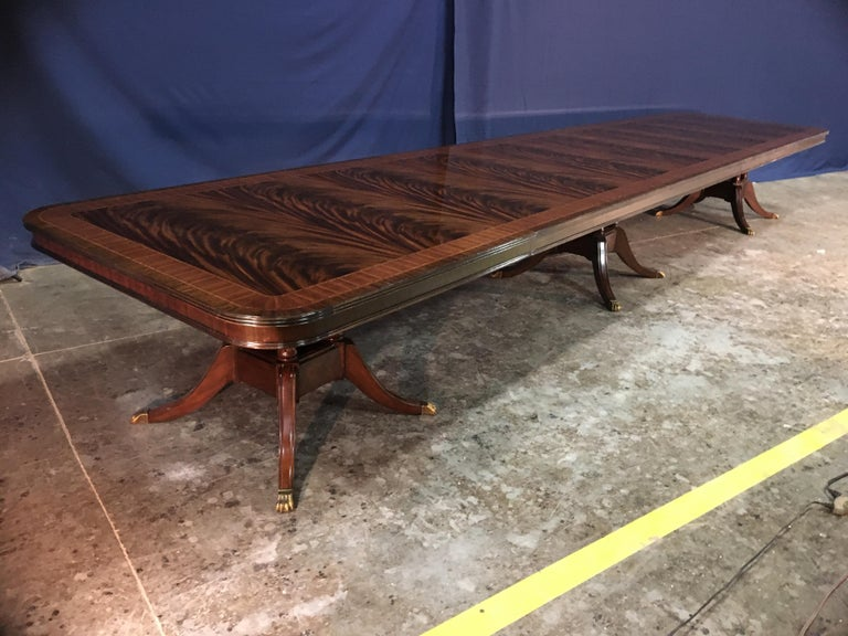Contemporary Custom 20 ft. Large Mahogany Banquet Dining Table by Leighton Hall For Sale