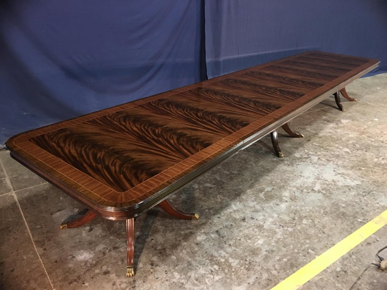 Custom 20 ft. Large Mahogany Banquet Dining Table by Leighton Hall For Sale 2