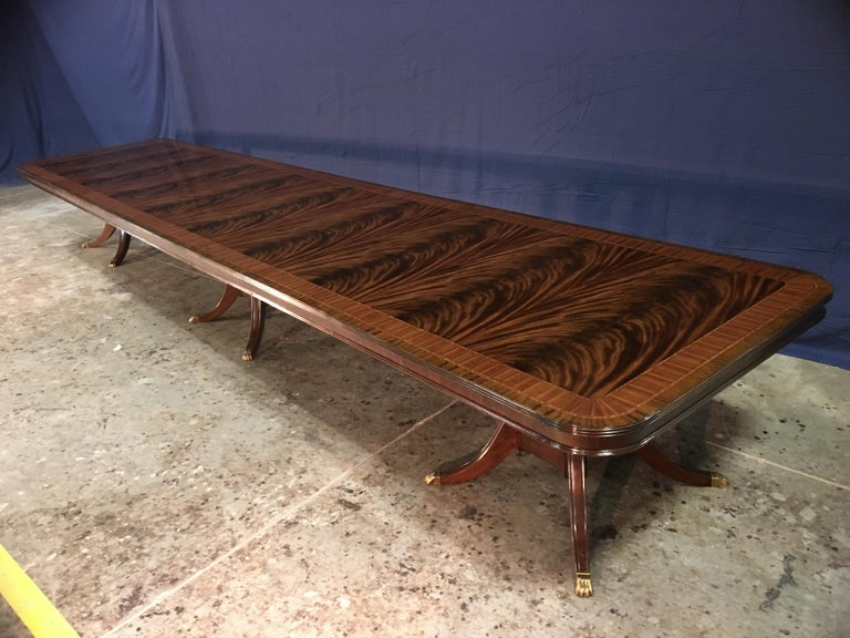 Custom 20 ft. Large Mahogany Banquet Dining Table by Leighton Hall For Sale 3