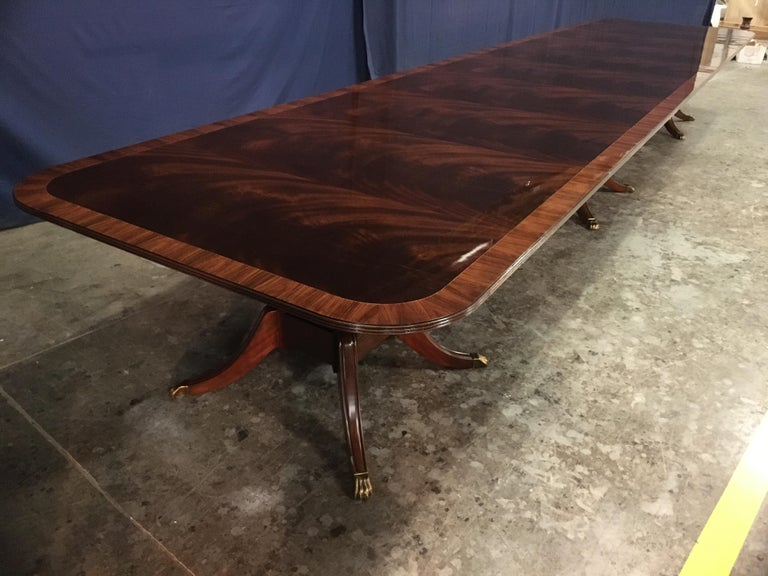 Custom Large Mahogany Banquet Dining Table by Leighton Hall For Sale 3