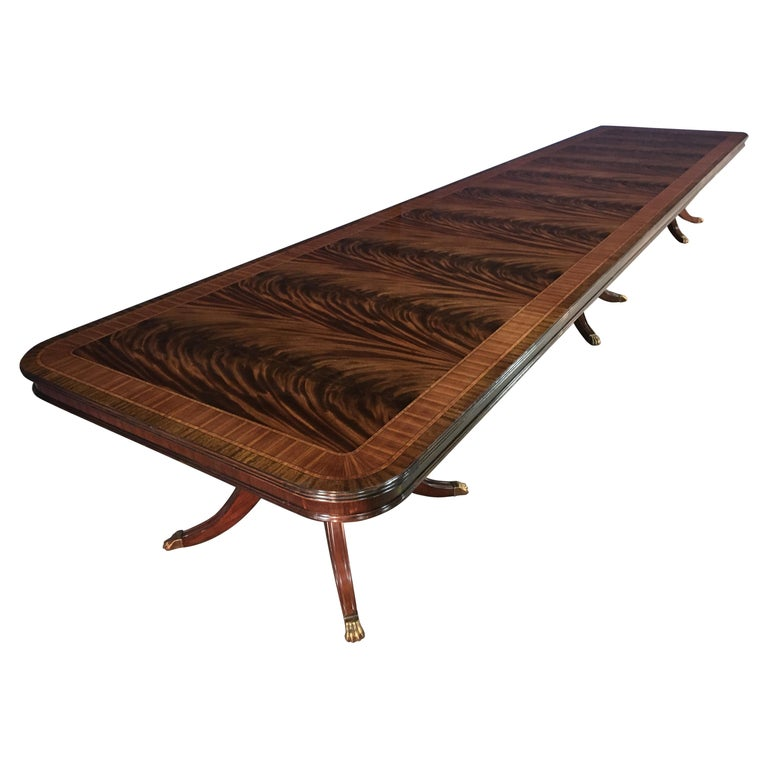 Custom 20 ft. Large Mahogany Banquet Dining Table by Leighton Hall For Sale