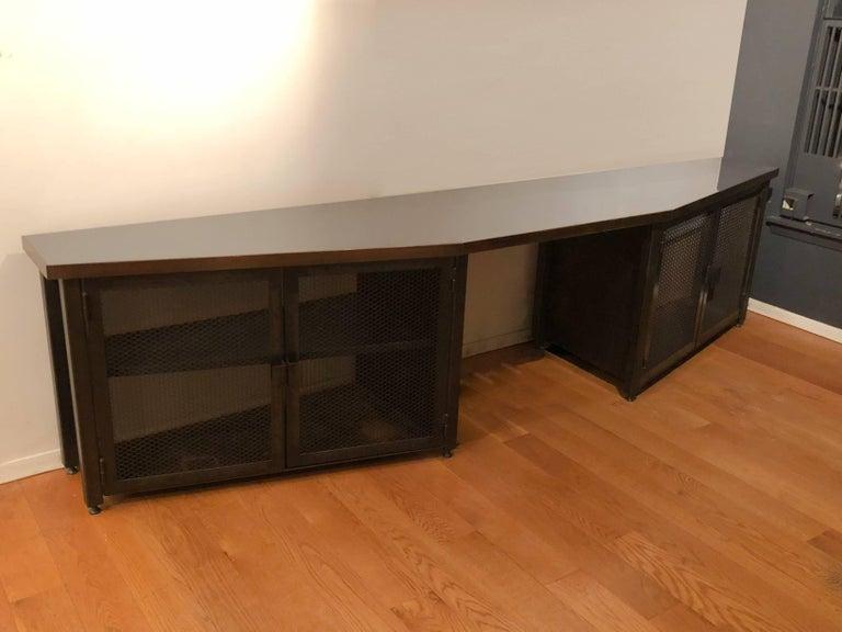 Industrial Custom Large Acid-Treated Brass Desk by Argosy Designs For Sale