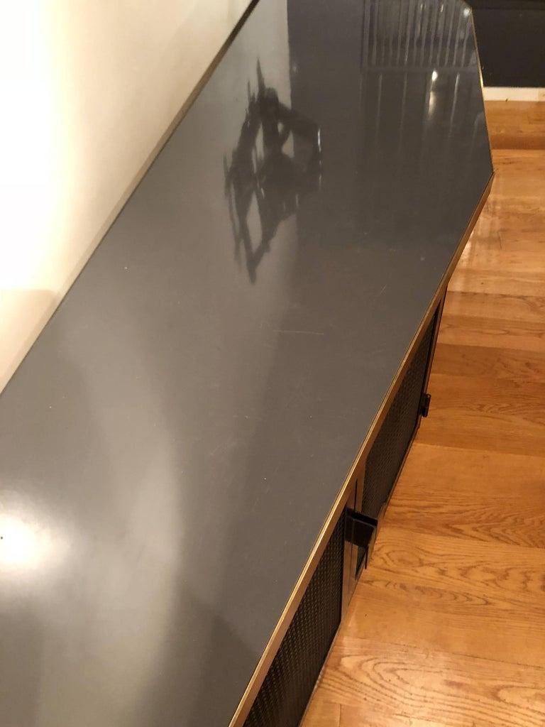 Contemporary Custom Large Acid-Treated Brass Desk by Argosy Designs For Sale