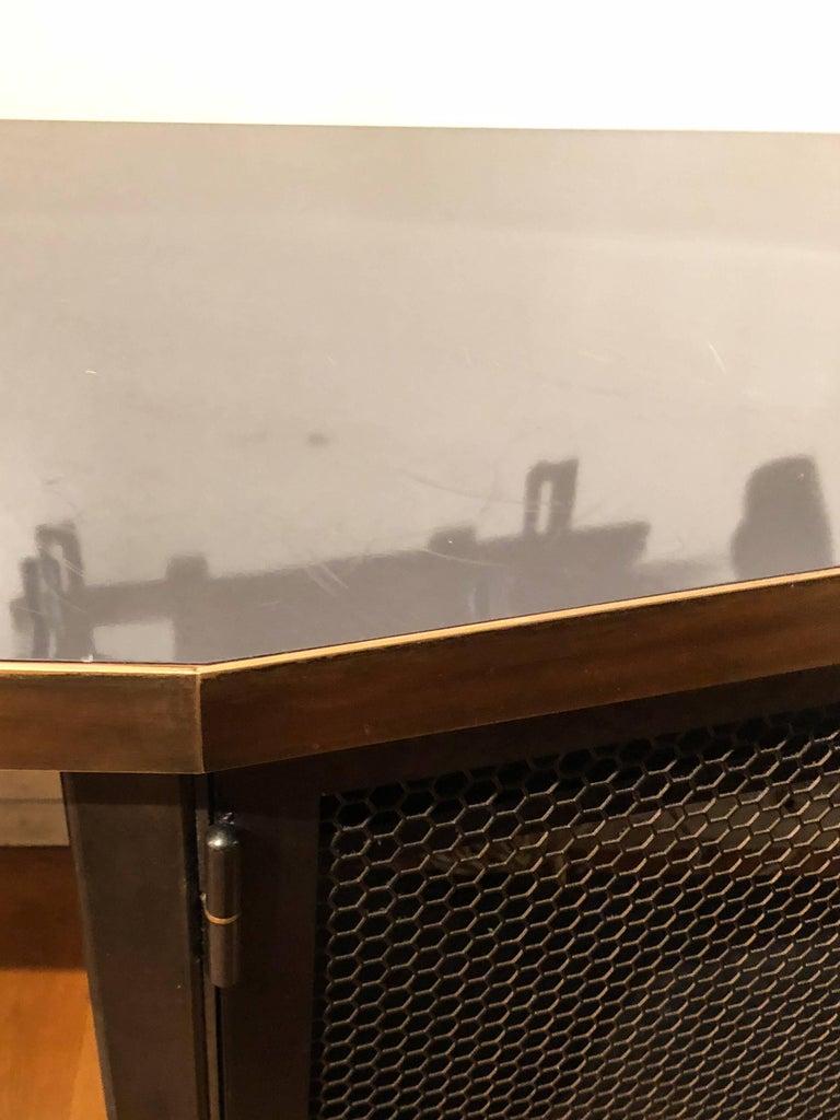Custom Large Acid-Treated Brass Desk by Argosy Designs For Sale 1