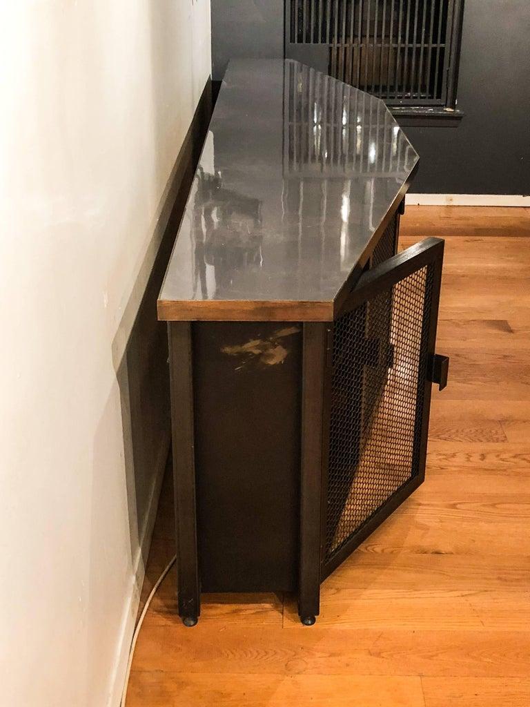 Custom Large Acid-Treated Brass Desk by Argosy Designs For Sale 3